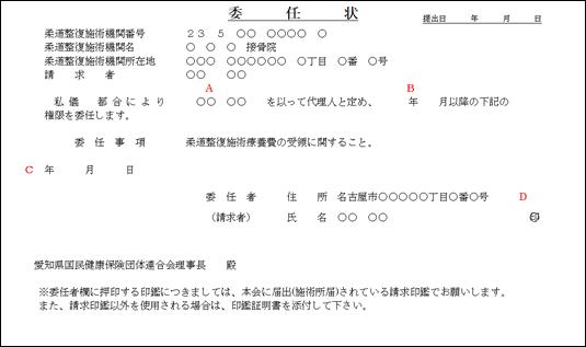 委任状、委任解除届(記載例/柔整)|愛知県国民健康保険団体連合会